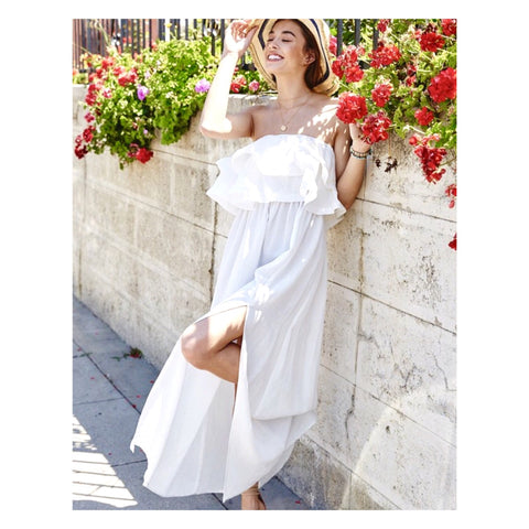 Off White Wire Ruffle Front Strapless Maxi 🌺