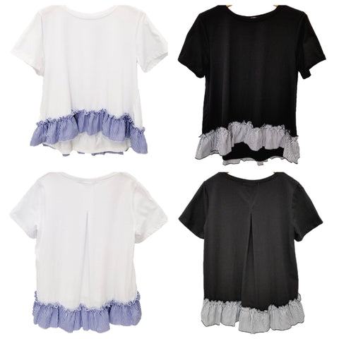 White OR Black Short Sleeve Top with Striped Contrast Ruffle Hem and Pleated Back