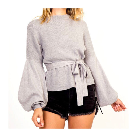 Heather Grey Contrasted Ribbed Knit Balloon Sleeve Top with Optional Belt