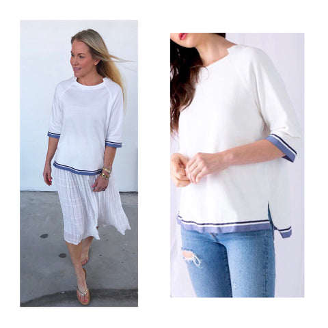 White Knit Three Quarter Sleeve High Low Top with GROSGRAIN RIBBON Trim