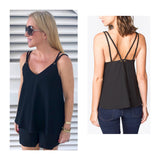 Black Cami with Double Braided Tassel Tie Straps & Grommet Detail