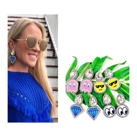 Rhinestone Teardrop Embroidered Emoji Earrings