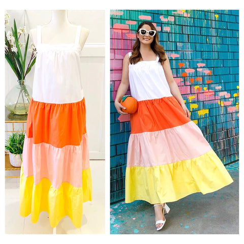 White Tangerine & Yellow Color Block Maxi Dress with Tiered Ruffle Hem & POCKETS