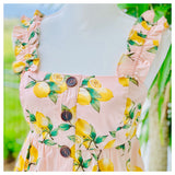 Pink Lemon Print Ruched Ruffle Empire Top
