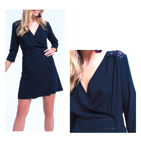 Navy 3/4 Sleeve A-Line Wrap Dress with Lace Shoulder Detail & Metallic Embroidery