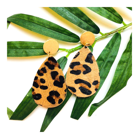 Brushed Gold & Faux Hide Teardrop Earrings
