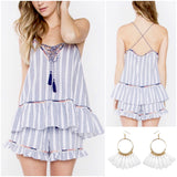 Blue White Stripe Peplum Tassel Tie Matching Set (Sold Together)