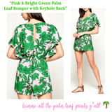Pink & Bright Green Palm Leaf Romper with Keyhole Back