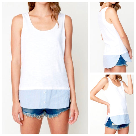 White Tank with Blue Shirttail Contrast Hem
