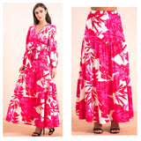 Pink Red & White Tiered Ruffle Hem Maxi Skirt