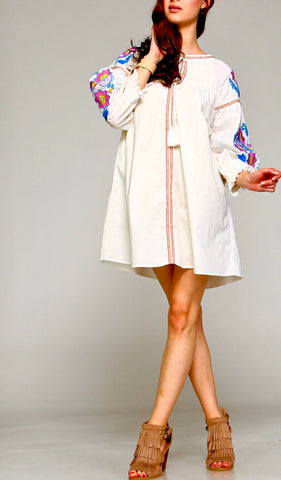 White Smocked Collar Long Sleeve Tunic Dress OR Top with Vibrant Pink & Blue Embroidery & Keyhole Tassel Tie