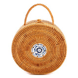 Woven Rattan Round Handbag with Ceramic Tile Inlay