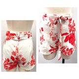 White & Red LINEN Blend High Waisted Tie Front Shorts