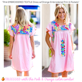 Pink EMBROIDERED TEXTILE Dress with Orange Embroidered Trim & Pockets