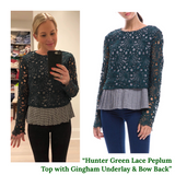 Hunter Green Lace Peplum Top with Gingham Underlay & Bow Back