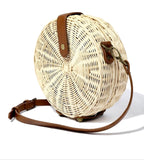 "Ivory Hard Sided 8"" Straw Bag with Detachable Cognac Strap"