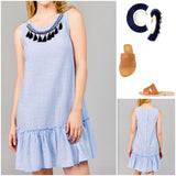 Blue Stripe Sleeveless Drop Hem Button Down Back Dress with Detachable Navy Tassel Bib