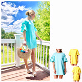 Yellow OR Aqua Pleated Bell Sleeve Shift Dress