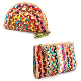 "Natural Woven Jute Multicolor 12"" Clutch Handbags / Cosmetic Case with Tassel Zip"