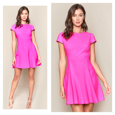 Electric Pink Cap Sleeve A-Line Shift Dress with Directional Stitching