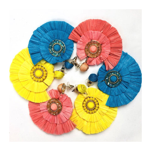 Gold Jeweled Double Fan Raffia Post Mount Earrings (also available in black)