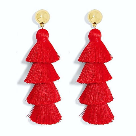 Red Tassel Fringe Earrings, Post Mount