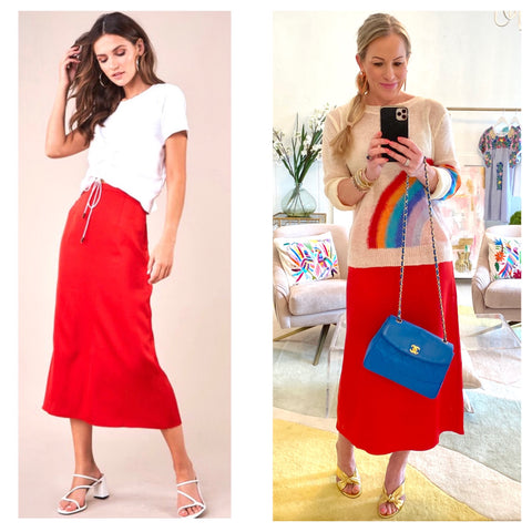 Bright Red Satin Sheen A-Line Side Zip Midi Skirt with Banded Waist