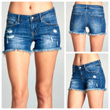 Dark Distressed Denim Shorts (the PERFECT dark shade!)