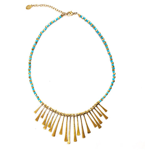 Gold & Turquoise Bib Necklace