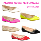 Pink & Nude Designer Inspired Studded Pointed Toe Flats