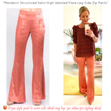 Mandarin Satin High Waisted Flare Leg Side Zip Pants with Banded Waist