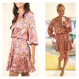 Rose Pink Floral 3/4 Sleeve Smocked Waist Tiered Ruffle Flare Dress with Tassel Tie