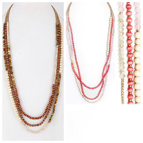 Pink OR Brown Multi Natural Stone, Wooden & Gold Bead & Crystal Lobster Cluster Necklace