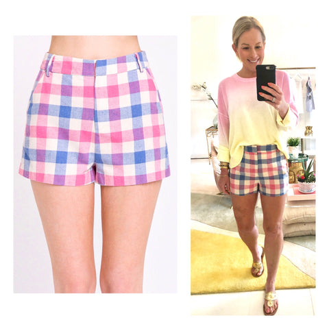 Pink Blue & Off White Buffalo Check Shorts with Pockets