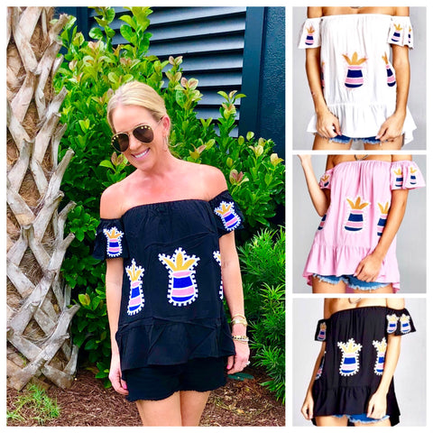 White, Pink OR Black Embroidered Pineapple Off the Shoulder Top