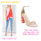 Nude Suede Sandals with Orange Yellow & Pink Bubble Ribbed Block Heel