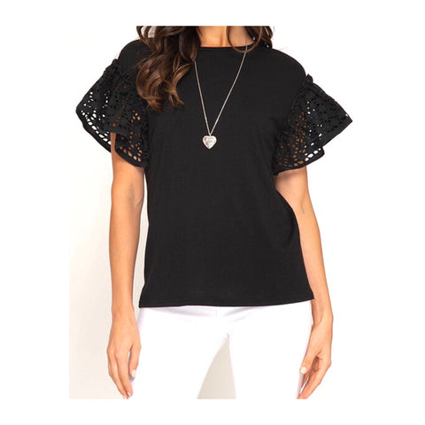 Black Eyelet Flutter Sleeve Soft Knit Top