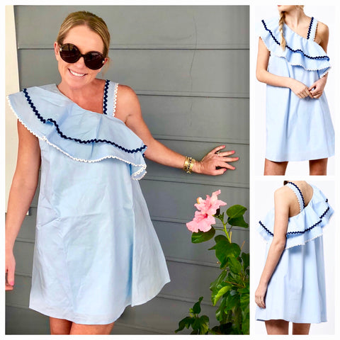 Baby Blue Dress with Asymmetrical Ruffle Hem & RicRac Trim