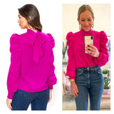 Magenta Puff Sleeve Mock Neck Top with Smocked Sleeves & Bow Back