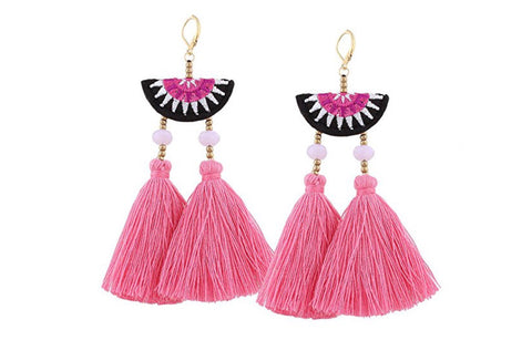 Pink & Black Half-moon Double Fan Tassel Earrings