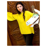 Bright Orange or Bright Yellow Knit Balloon Sleeve Sweater