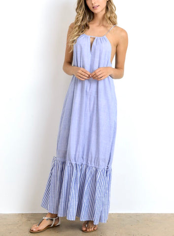 Blue Stripe Ruffle Tie Hem Maxi Dress with Pockets
