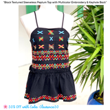 Black Textured Sleeveless Peplum Top with Multicolor Embroidery + Ruffle Waist & Keyhole Back
