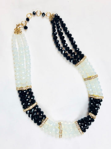 Black and Gold Glass Bead Multi Row Bib Necklace Set