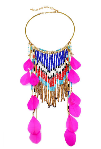 Hot Pink Beaded Feather Collar Necklace