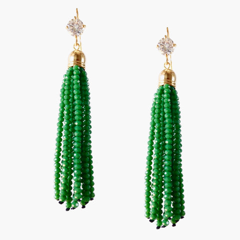Emerald Green and Gold CZ Dangle Bead Earrings