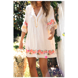 Ivory Neon Pink & Gold 3/4 Puff Sleeve Tunic Dress
