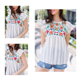 Cloud Grey Stripe Floral Embroidered Babydoll Top