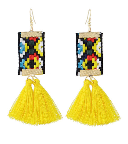 Yellow Embroidered Tassel Earrings