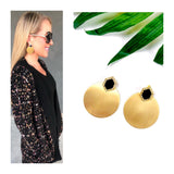 Gold Disc Earrings with Black or Brown Stone & Rhinestones